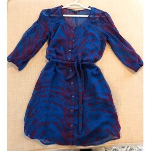 Animal Print Sheer Lined 3/4 Sleeve Dress ButtonUp